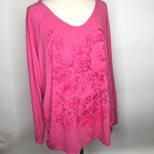 Pink Embellished Ruched Sides T Shirt Top 4X